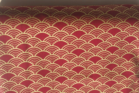 Vintage Japanese Red Cotton Fabric With Golden Wave Fabric ,for Bag  ,Purse,Clothing,Tablecloth,Home Décor ETC U20131/2 Yard From Komachidoll On  Etsy Studio