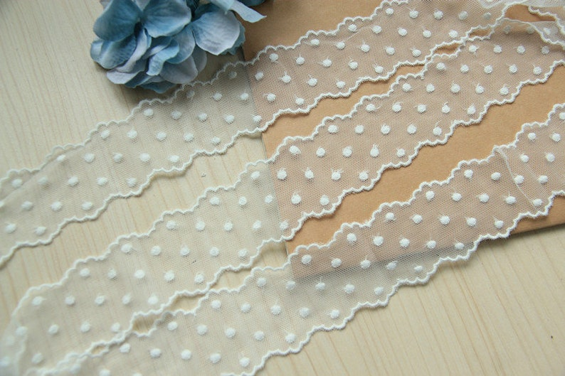 Lace Fabric White Floral Embroidered Lace Trim Ribbon Width for Clothing Bags BJD Doll Wedding Dress Curtain One Yard 4.5 cm 1.77 inch