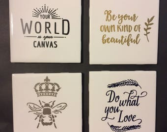 Custom 4pc Coaster Set - Inspirational