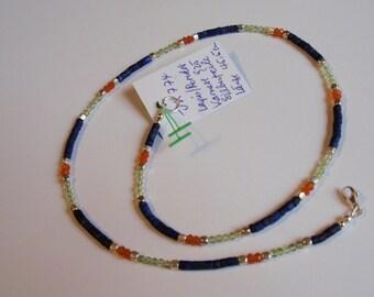 Lapis Necklace with Peridot & Carnelian   (JK 774)