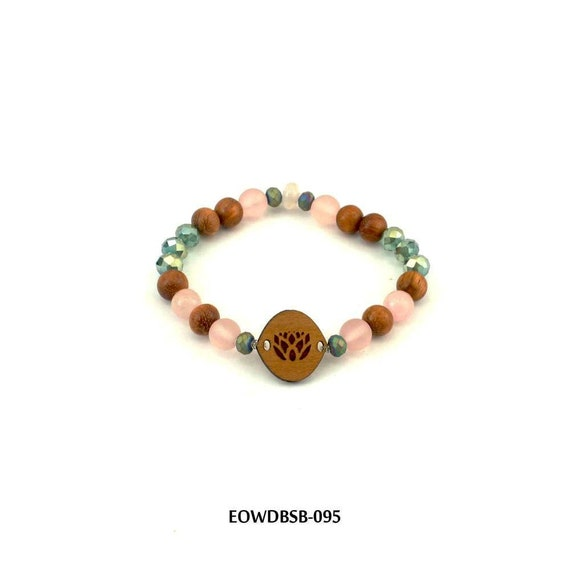 Dragonfly Wood Diffuser Beaded Stretch Bracelet Aromatherapy Jewelry Apply Essential Oil to Wood EOWDBSBW-D038 USA Made Sustainable Wood
