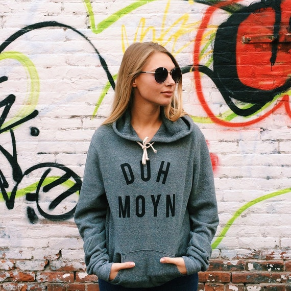 DUH MOYN ( Des Moines Iowa ) - Unisex Hooded Triblend Alternative Apparel Sweatshirt