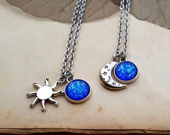 2 Sun and Moon Necklaces, best friends jewelry, matching necklaces, best friends gift, sun and moon jewelry, Sun and Moon Chokers, Mermaid
