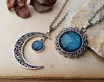 2 Moon and Sun Necklaces | best friends jewelry | moon and sun jewelry | Best Friends Necklaces | Matching Necklaces for 2 | Ice Teal