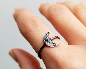 Moon Ring   Raw Ring   Crescent Moon Ring   Stacking Ring   Minimalist Ring   Moon Phase Ring   wiccan jewelry   dark jewelry   gift for her
