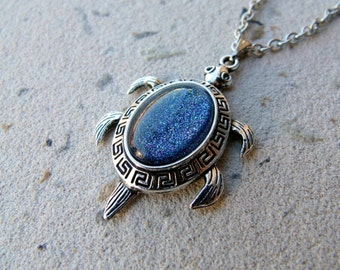 Sea Turtle Necklace, turtle pendant, turtle jewelry, layering necklace, Taurus, Libra, Virgo, Capricorn, Aquarius, Pisces, Ice Teal Necklace