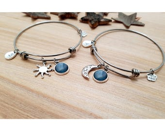 2 Moon and Sun Bracelets, best friend jewelry, charms bracelets, stacking bangles, gift for friend, friends bracelets, sisters bracelets