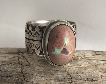 Crowned Mexican Opal OOAK Sterling Silver Ring