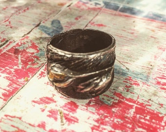 VINCENT'S MUSE- Gorgeous sculpted fine Silver Organic OOAK Artistic Ring, Auvers France, Vincent Van Gogh
