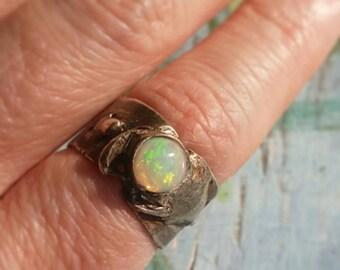 SPRING MOON- Brilliant Flashing Australian Opal Sterling Silver Organic OOAK Artistic Ring