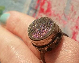 STEADFAST- Beautiful Titanium Druzy Agate Sterling Silver OOAK, Silversmith, Pierced, Textured Women's Statement Ring