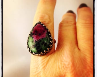PRAIRIE ROSE- Natural Red Ruby in Zoisite Sterling Silver OOAK Ring