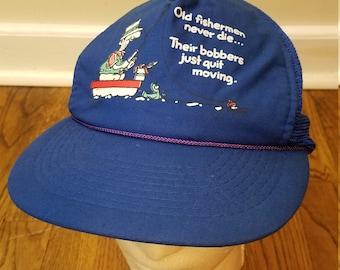 727340ae14f45 Vintage Fishing Hat Vintage Snapback Mesh Hat Old Fisherman Never Die  Cartoon Funny Vintage 80 s Snapback Grandfather Gift Father Gift Hip