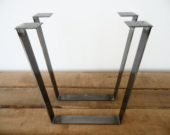 """28"""" Trapezoid Table Legs Flat Steel, Height 26"""" - 32"""" , Set(2)"""