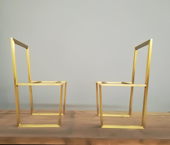 Brass Chair Trapezoid Brass Dining Chair 2 Chairs Etsy