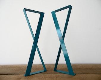 "Modern Metal Dining Table Legs , 28"" X-frame Flat Metal Legs, 15"" Width, Height 25"" To 30""Set(2)"