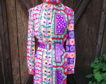 Vintage rainbow colored floral print maxi dress / XS / Small