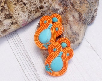 Turquoise orange soutache earrings, Colourful ethnic earrings, Orange statement earrings, Beadwork earrings, Unique jewellery, Boho earrings