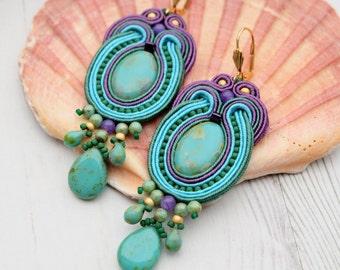 Turquoise Green Purple Soutache Earrings-Large Statement Earrings-Hippie Boho Earrings-Long Dangle Beaded Earrings-Retro Earrings