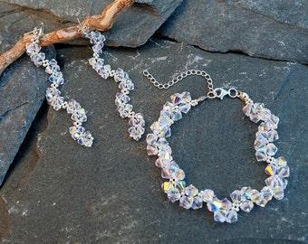 Long Swarovski Crystal Earrings and Bracelet Set, Long Evening Earrings, Silver Beaded Dangle Earrings, Wedding earrings, Bridesmaid gift