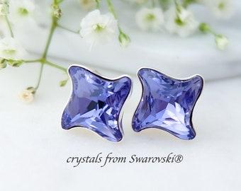 Modern crystal stud earrings, Tanzanite earrings, Swarovski earrings, Sterling Silver earrings, Purple star earrings Dainty crystal earrings