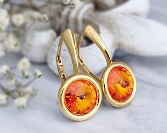 Amber earrings, Swarovski earrings, Amber jewelry, Gold minimalist earrings, Crystal earrings, Sterling Silver earrings, Everyday earrings