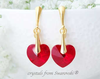 Red heart earrings, Crystal bridesmaid earrings gift, Swarovski earrings, Sterling Silver earrings, Heart jewellery, Gift for her