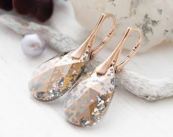 Bridal earrings, Rose gold earrings, Swarovski earrings, Crystal earrings, bridesmaid earrings, bridesmaid gift, Clear crystal earrings1