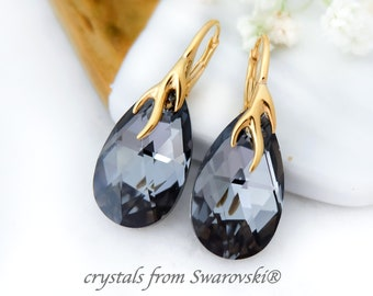 Black crystal earrings, Swarovski earrings, Teardrop bridesmaid earrings, Sterling Silver earrings, Simple everyday rose gold earrings 5
