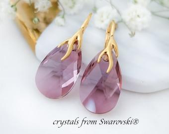 Morganite earrings, Bridal earrings, Swarovski earrings, Bridesmaid gift, Wedding earrings, Blush teardrop earrings, Rose gold earrings 1