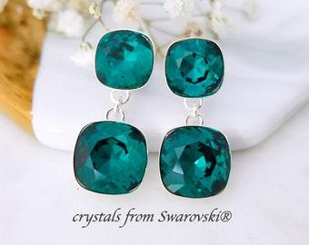 Emerald earrings, Swarovski crystal earrings, Modern Sterling Silver post earrings, Green bridesmaids earrings gift, Cushion cut earrings