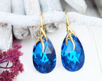 Blue crystal earrings Royal blue bridal earrings Royal blue Swarovski teardrop earring Rose gold bridal Earrings Blue bridesmaid earrings 5