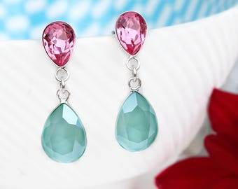 Mint green bridal earrings Swarovski crystal teardrop earrings bridesmaid gift Green pink bridesmaid earrings Sterling Silver earrings 3