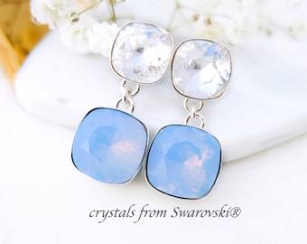 Blue opal earrings, Swarovski crystal earrings, Modern Sterling Silver post earrings, Bridesmaids earrings gift, Cushion cut earrings
