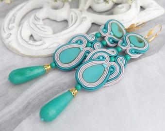 Soutache earrings Green statement earrings Large chandelier earrings Ethnic boho earrings Beaded earrings Soutache jewelry Long earrings