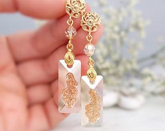 Gold vintage earrings, Bridal earrings, Champagne earrings, Swarovski earrings, Long crystal earrings Ornate victorian druzy crystal earring