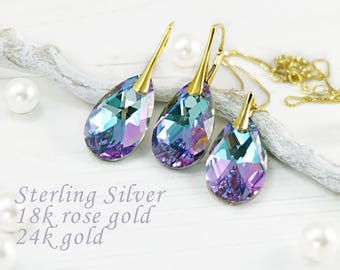 Purple Swarovski crystal earrings necklace set Lilac wedding teardrop earrings Sterling Silver rose gold bridesmaids earrings Gift for her