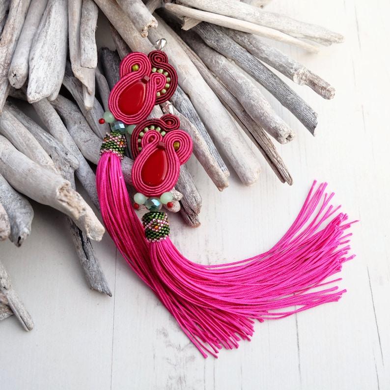 Long Fuchsia Pink Soutache Earrings-Extra Long Tassel image 0