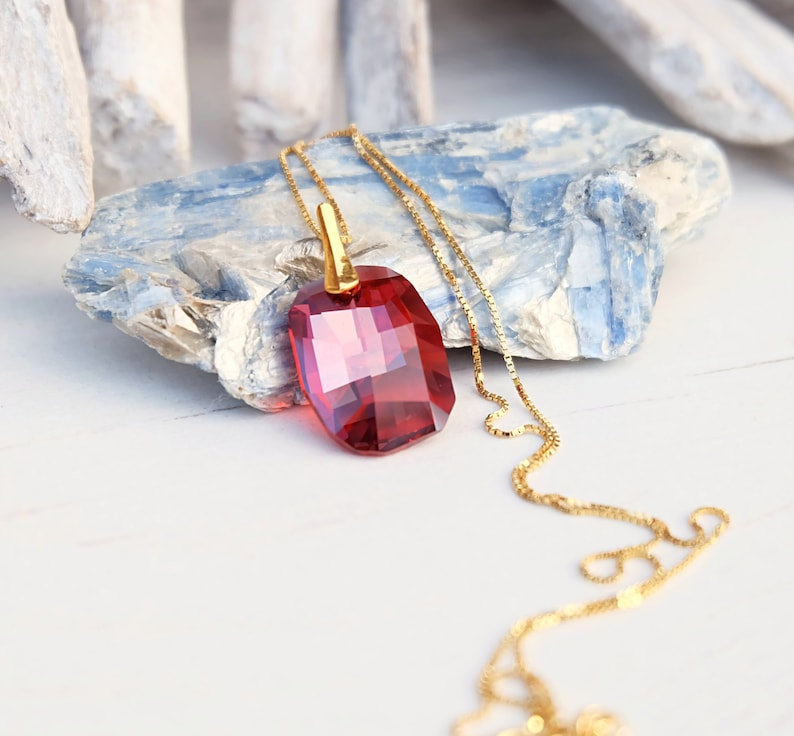 502b013582c4d Red Swarovski crystal pendant necklace Siam rectangular bridal necklace Red  wedding jewellery Red bridesmaids gift Silver rose gold necklace