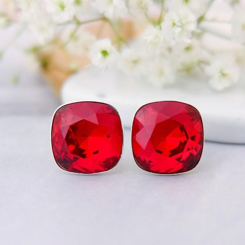44652953b Red crystal stud earrings Red Swarovski crystal earrings | Etsy