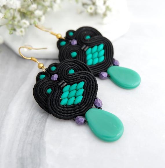 Purple green beadwork earrings Unique boho earrings Large statement earrings Long purple soutache earrings Beaded chandelier earrings