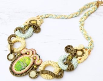 Green Yellow Soutache Necklace-Crystal Gemstone Necklace-Jasper Necklace-Beaded Statement Necklace-Green Boho Necklace-Bib Cunky Necklace