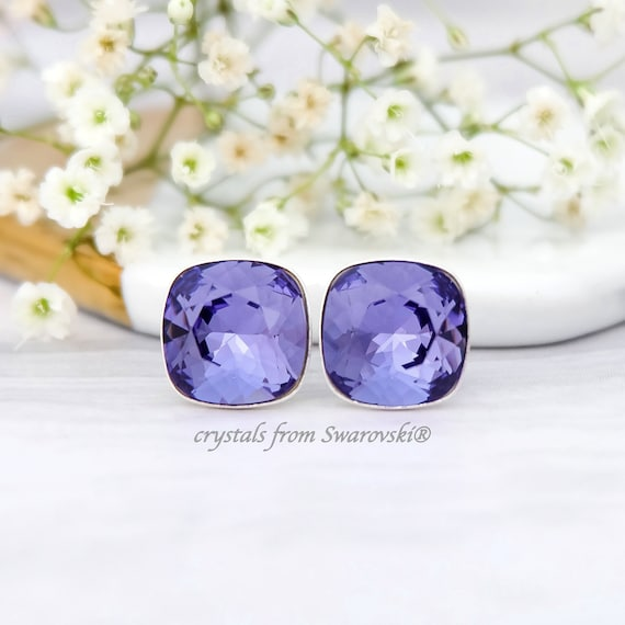 65eaac5d7 Tanzanite stud earrings Purple Swarovski crystal earrings Gold | Etsy