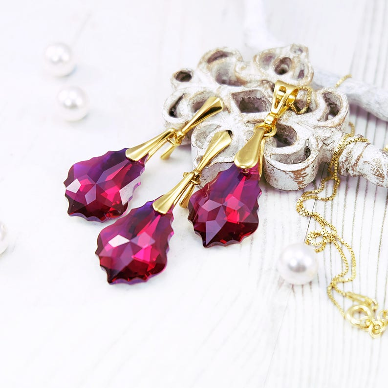 Ruby Jewelry Set Ruby Earrings Swarovski Earrings Vintage Etsy