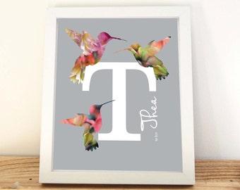 Nursery Letter Art, Girls Prints, Hummingbird Print, Initial Print, Floral Letter, Nursery Wall Art, Monogram,