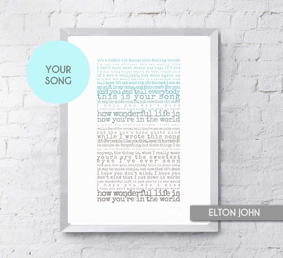 Your Song Elton John Song Lyrics Print, First Anniversary, Romantic Gift,  Groom Gift, Wedding Present, Boyfriend Gift