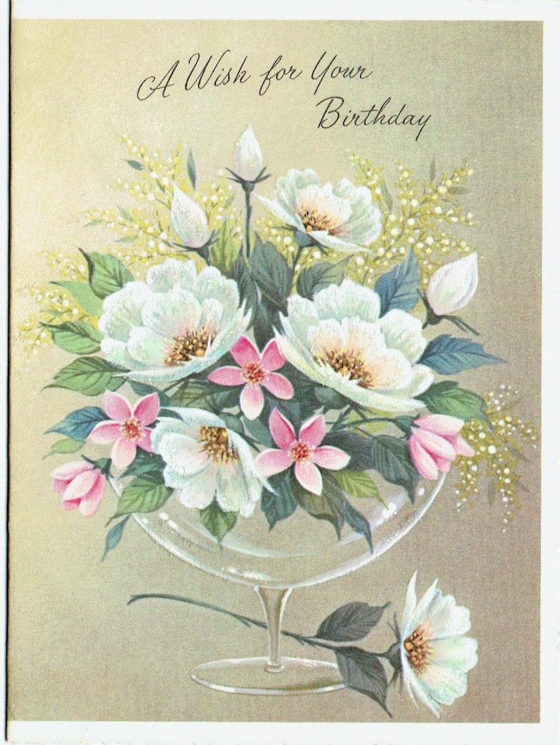 1950s Unused Vintage Birthday Card and Envelope; Flowers in a Glass