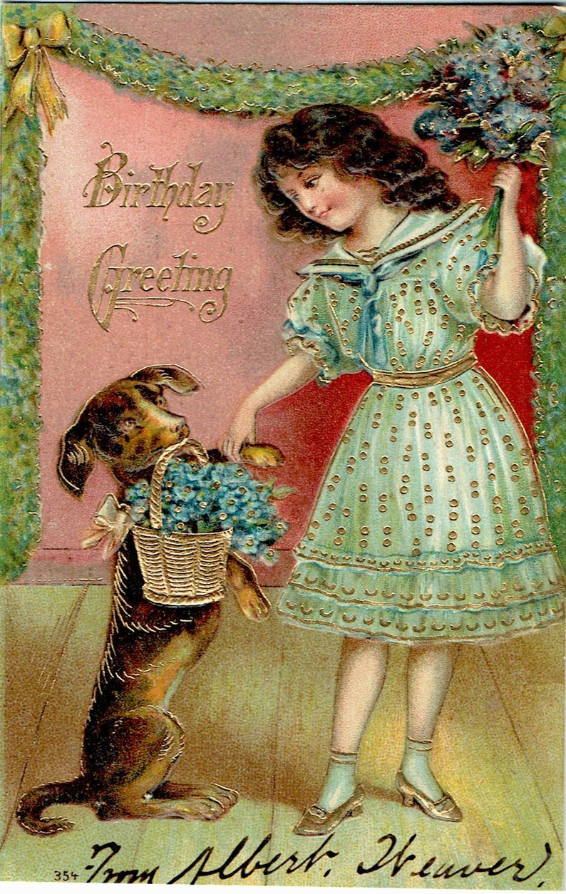 Vintage Postcards: Lot of Four Birthday, 1911, Dove, Maltese, American  Eskimo, Dachshund, Foreign, Embossed, Gilded, Victorian, Myerstown