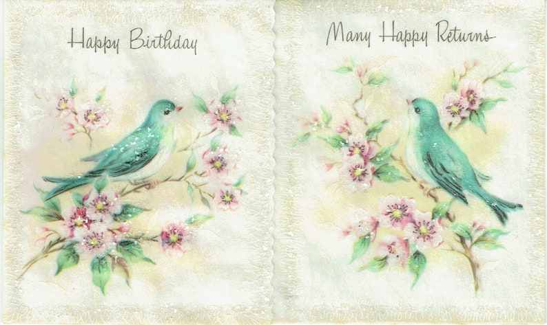 1950s Unused Vintage Birthday Card and Envelope from Parchment Pastels Birthday Assortment\u201d; Blue Birds and Glitter