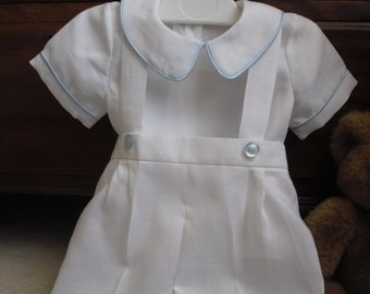 Boy outfit – White or ivory/cream linen shorts with straps and shirt. Christening outfit. Baby boy dungarees and shoes.